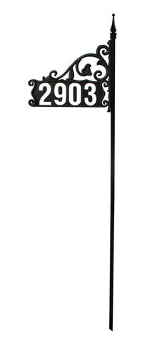 "DIY Boardwalk Reflective Address Sign For Yard on a 60"" Pole"