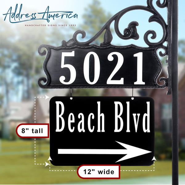 Boardwalk Reflective Address Sign With Extra Large Name Rider