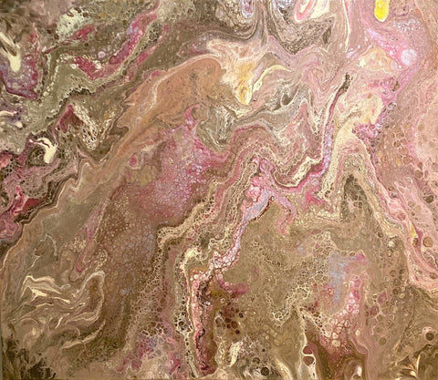 "Abstract Acrylic Pour WIth Metallic Painting - Art 24"" x 20"" Gallery Wrap Stretched Canvas  ""Anya Art"""