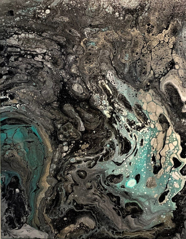 "Acrylic Pour Wall Painting Anya Art 20"" x 16"" Canvas Wrap"