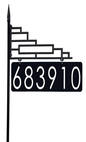 "Extra Large Contemporary Reflective 911 Yard Address Sign - 6"" Numbers on Both Sides"