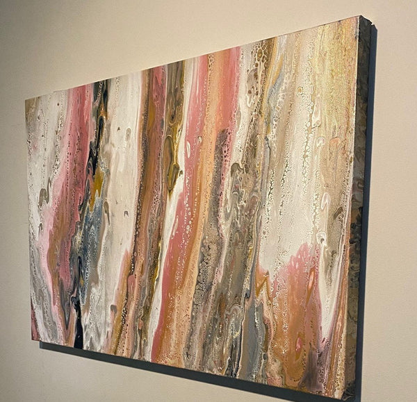 "Abstract Acrylic Pour Painting - Art 24"" x 36"" Gallery Wrap Stretched Canvas"