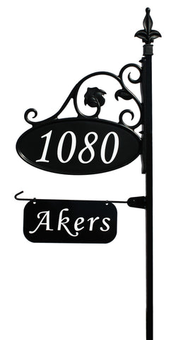 Park Place Oval Reflective 911 Home Address Sign for Yard with Name Rider on Garden Flag Post - Address America