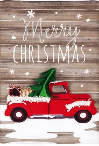 Christmas Red Truck Garden Flag