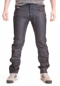 Men's Leather-Trimmed Rounded + Exposed Zip Fly
