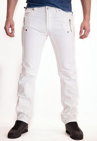 WHITE Leather-Trimmed Rounded + Exposed Zip Fly