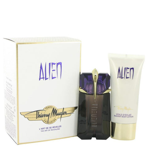 Alien by Thierry Mugler Gift Set -- 2 oz Eau De Parfum Spray + 3.4 oz Body Lotion  (Travel Set) - Fragrances for Women - 123fragrance.net