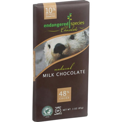 Endangered Species Natural Chocolate Bars - Milk Chocolate - 48 Percent Cocoa - 3 Oz Bars - Case Of 12