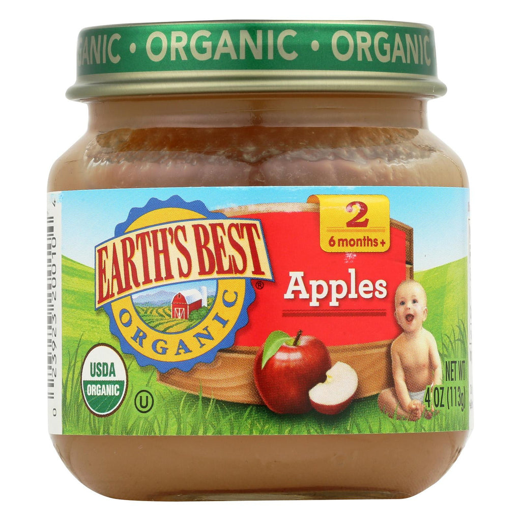 Earth's Best Organic Apples Baby Food - Stage 2 - Case Of 12 - 4 Oz.