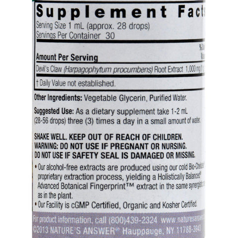 Nature's Answer Alcohol Free Devil's Claw Root - 1 Oz