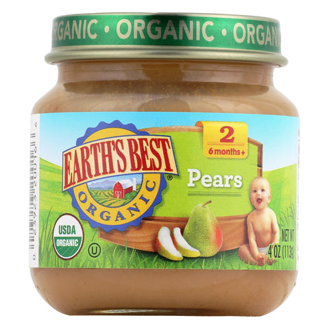 Earth's Best Organic Pears Baby Food - Stage 2 - Case Of 12 - 4 Oz.