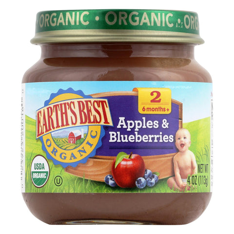 Earth's Best Organic Apples And Blueberries Baby Food - Stage 2 - Case Of 12 - 4 Oz.