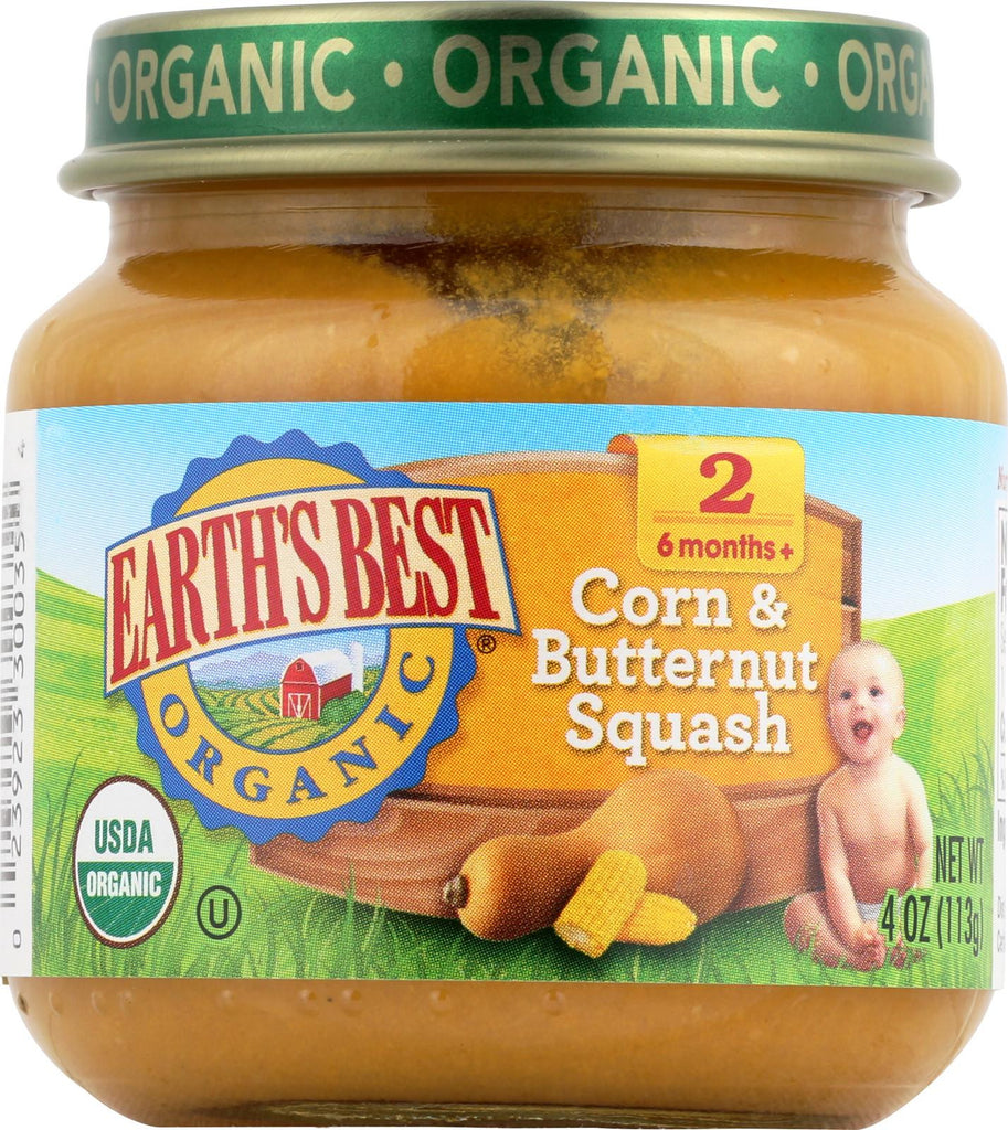 Earth's Best Organic Corn And Butternut Squash Baby Food - Stage 2 - Case Of 12 - 4 Oz.