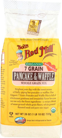 Bob's Red Mill Organic 7 Grain Pancake And Waffle Mix - 26 Oz - Case Of 4