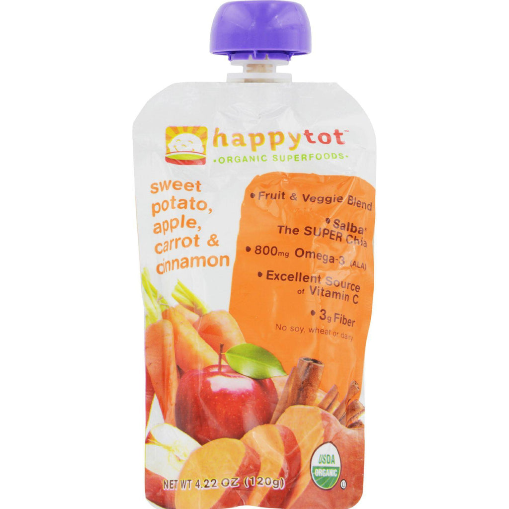 Happy Baby Happytot Organic Superfoods Sweet Potato Apple Carrot And Cinnamon - 4.22 Oz - Case Of 16