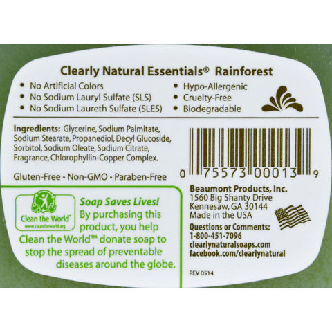 Clearly Natural Glycerine Bar Soap Rainforest - 4 Oz