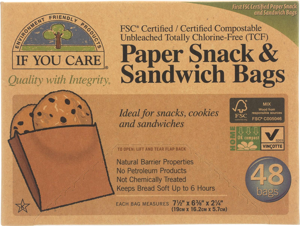 If You Care Bags - Snack And Sandwich - Paper - Unbleached - 48 Count - Case Of 12
