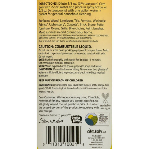 Citrasolv Natural Cleaner And Degreaser Valencia Orange - 8 Fl Oz