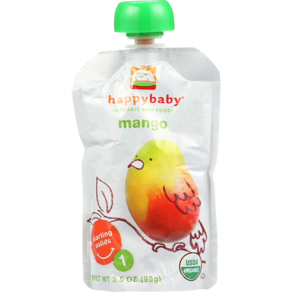 Happy Baby Baby Food - Organic - Starting Solids - Stage 1 - Mangos - 3.5 Oz - Case Of 16