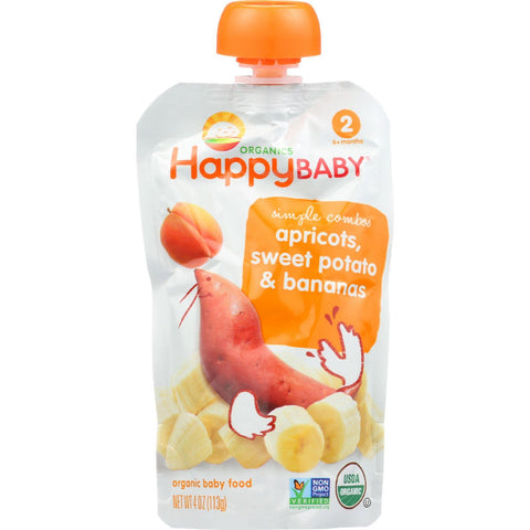 Happy Baby Baby Food - Organic - Simple Combos - Stage 2 - Apricots Sweet Potato And Bananas - 3.5 Oz - Case Of 16