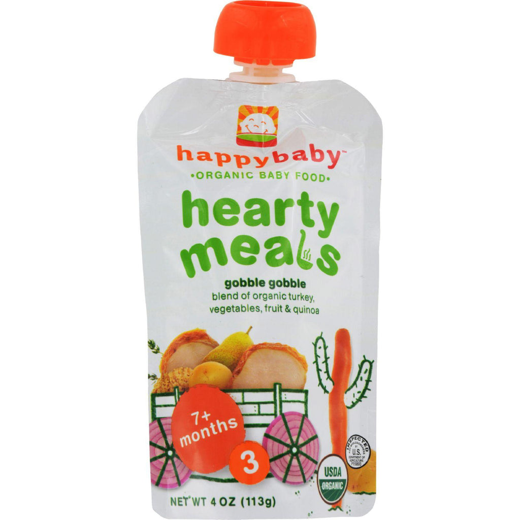 Happy Baby Organic Baby Food Stage 3 Gobble Gobble - 4 Oz - Case Of 16