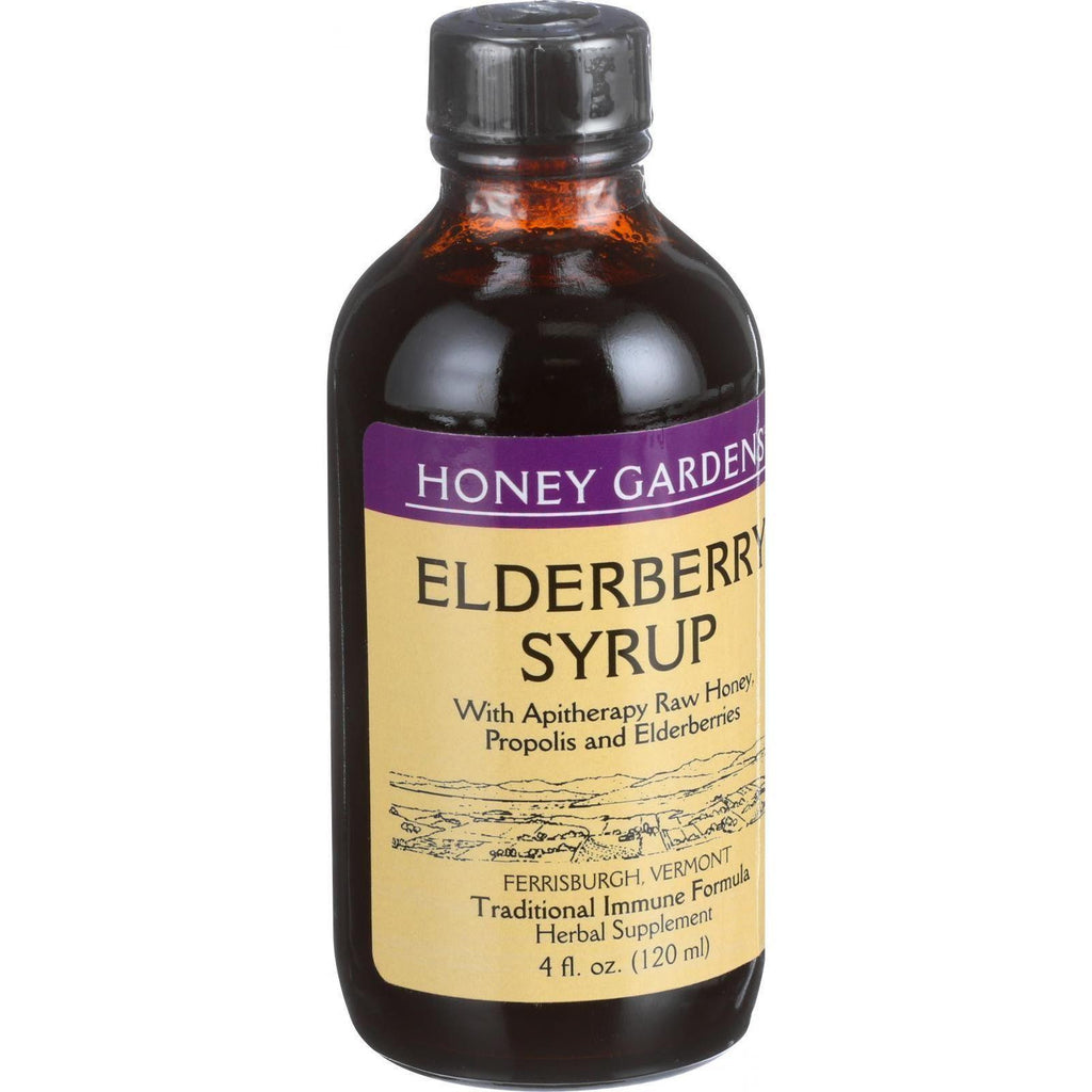 Honey Gardens Apiaries Elderberry Syrup - Apitherapy Raw Honey - Propolis And Elderberries - Cough - 4 Oz