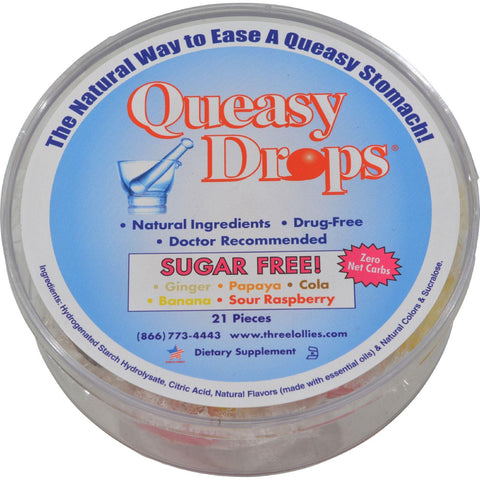 Three Lollies Queasy Drops Ginger Papaya Cola Banana Sour Raspberry - 21 Pieces