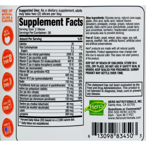 Hero Nutritional Products Slice Of Life Multi + Natural Fruit Flavors 60 Gummy Slices - 60 Pack