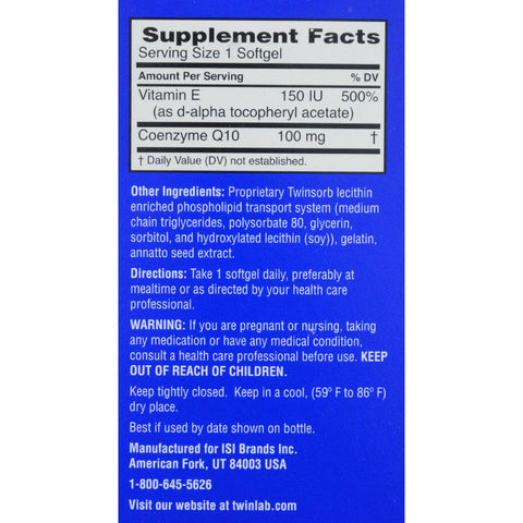 Twinlab Twinsorb Coq10 - 100 Mg - 45 Softgels