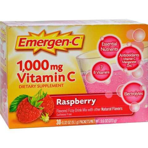 Alacer Emergen-c Vitamin C Fizzy Drink Mix Raspberry - 1000 Mg - 30 Packets