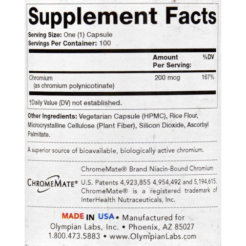 Olympian Labs Chromium Polynicotinate - 200 Mg - 100 Vegetarian Capsules