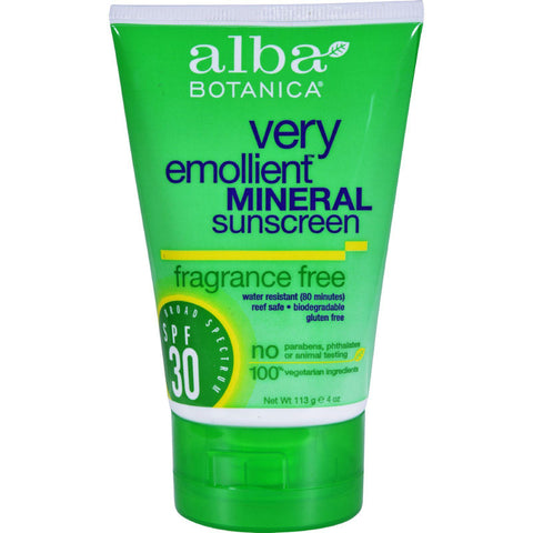 Alba Botanica Very Emollient Natural Sunscreen Mineral Protection Fragrance Free Spf 30 - 4 Oz