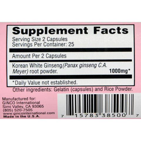 Imperial Elixir Korean White Ginseng - 500 Mg - 50 Capsules
