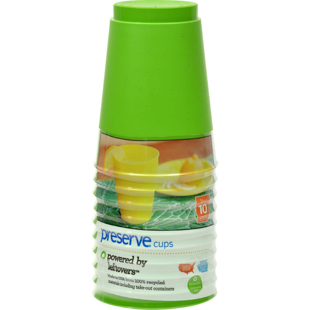 Preserve On The Go Cups - Apple Green - Case Of 12 - 10 Packs - 16 Oz