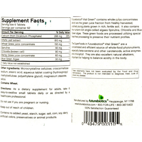 Futurebiotics Vital Green - 375 Tablets