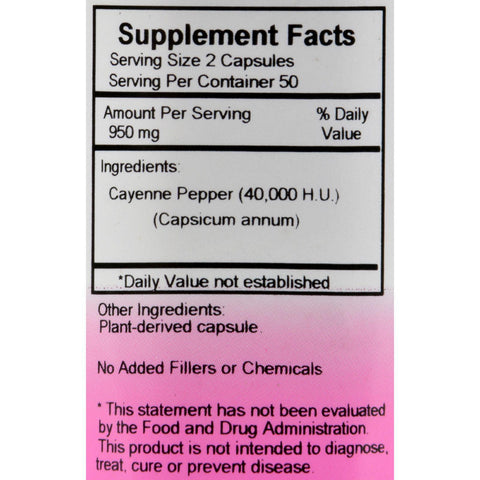 Dr. Christopher's Cayenne - 475 Mg - 100 Vegetarian Capsules