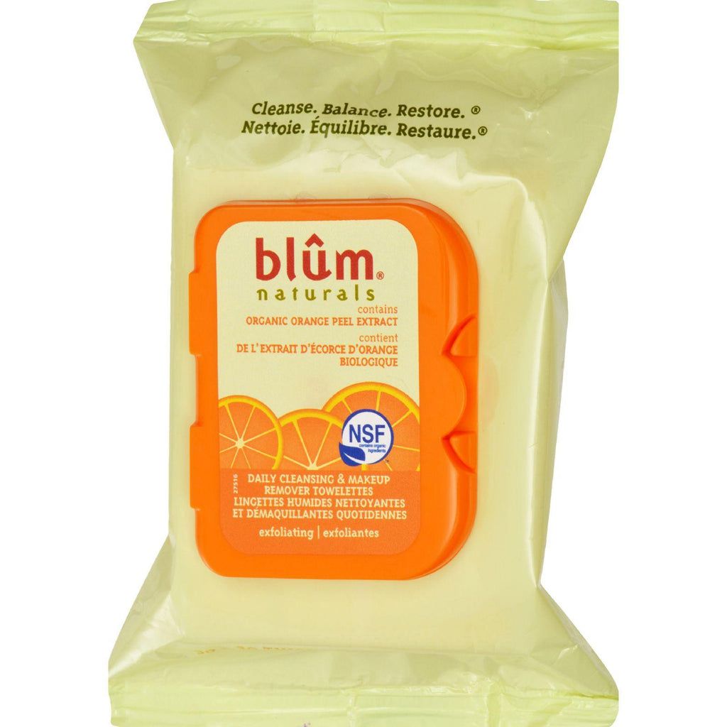 Blum Naturals Exfoliating Daily Cleansing Towelettes With Orange Peel - 30 Towelettes - Case Of 3