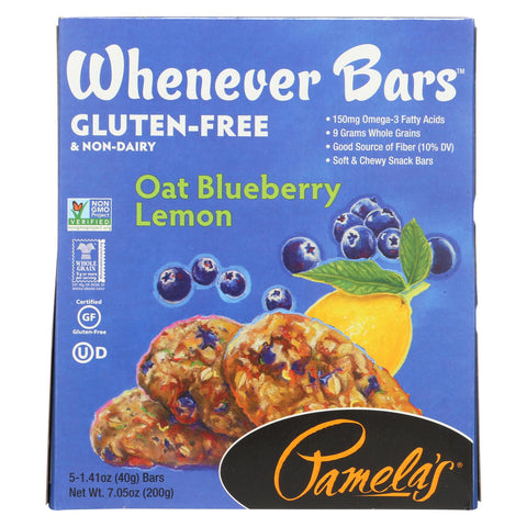 Pamela's Products Oat Whenever Bars - Blueberry Lemon - Case Of 6 - 1.41 Oz.
