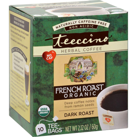 Teeccino French Roast Herbal Coffee Dark Roast - 10 Tea Bags - Case Of 6