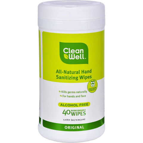 Cleanwell All-natural Hand Sanitizing Wipes Original - 40 Wipes