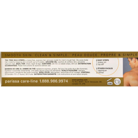 Parissa Men's Tea Tree Wax Strips - 20 Strips