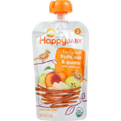 Happy Baby Baby Food - Organic - Hearty Meals - Stage 3 - Mama Grain - Pouch - 4 Oz - Case Of 16