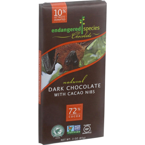 Endangered Species Natural Chocolate Bars - Dark Chocolate - 72 Percent Cocoa - Cacao Nibs - 3 Oz Bars - Case Of 12