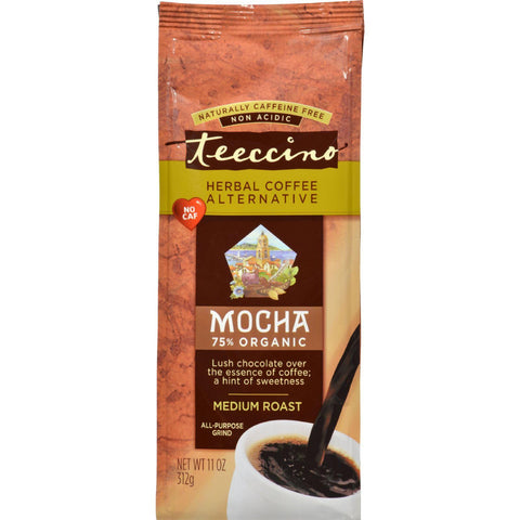 Teeccino Mediterranean Herbal Coffee - Mocha - Medium Roast - Caffeine Free - 11 Oz