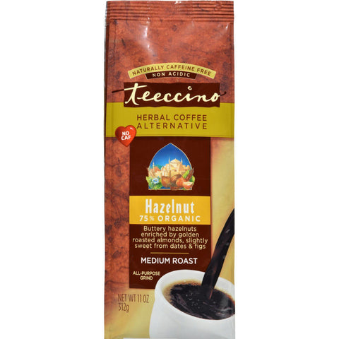 Teeccino Mediterranean Herbal Coffee - Hazelnut - Medium Roast - Caffeine Free - 11 Oz