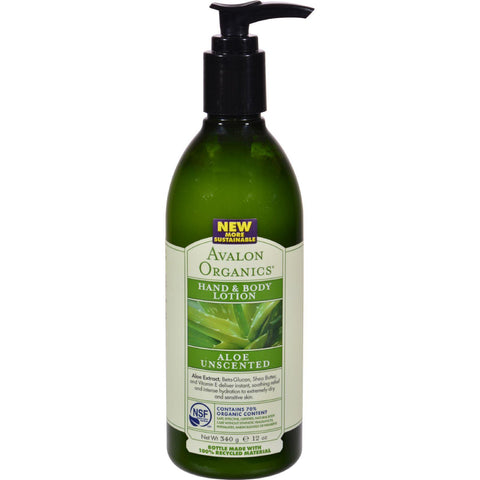Avalon Organics Hand And Body Lotion Aloe Unscented - 12 Fl Oz