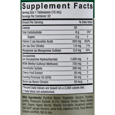 Nature's Answer Liquid Glucosamine And Chondroitin With Msm Natural Orange - 16 Fl Oz