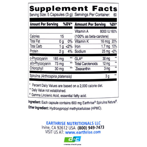 Earthrise Spirulina Natural - 600 Mg - 300 Capsules