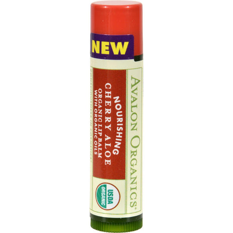 Avalon Organics Nourishing Aloe Organic Lip Balm Cherry - 0.15 Oz - Case Of 24
