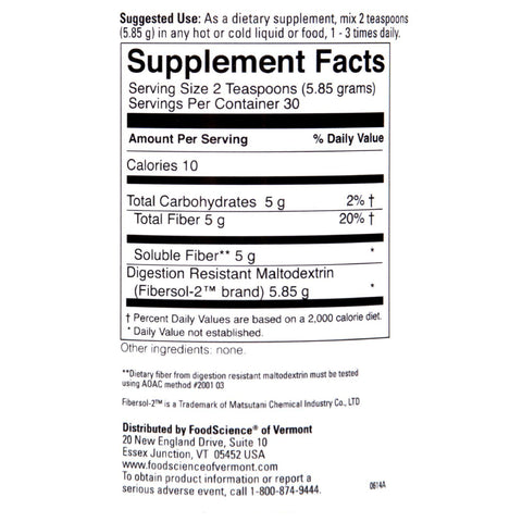 Foodscience Of Vermont Clearly Fiber - 176 G